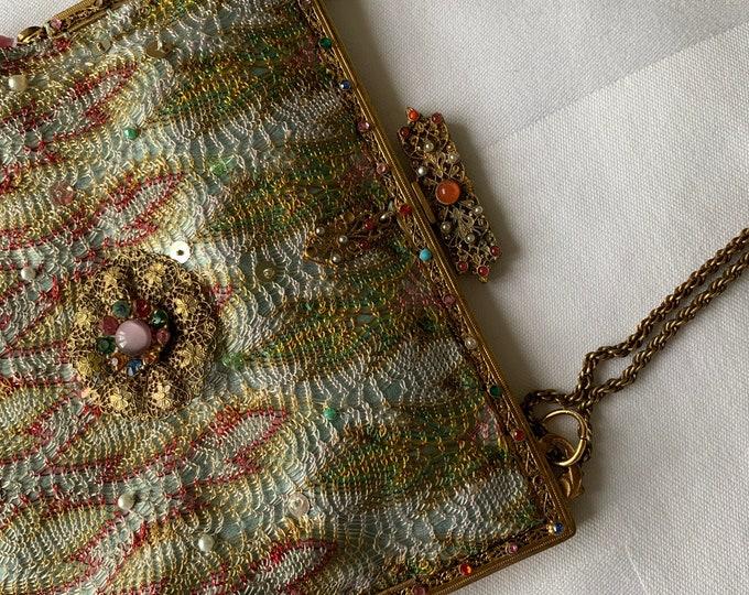 Antique oriental style silk bag
