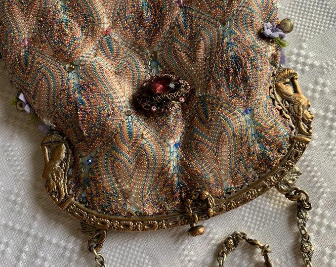 Antique gilt handle silk evening bag