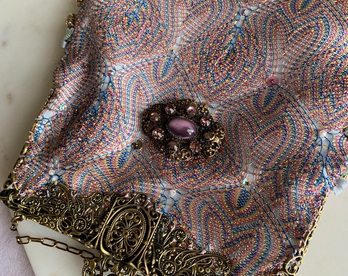 Antique brass fillagree purse frame UpCycled and remade in antique silk shawl fabric .