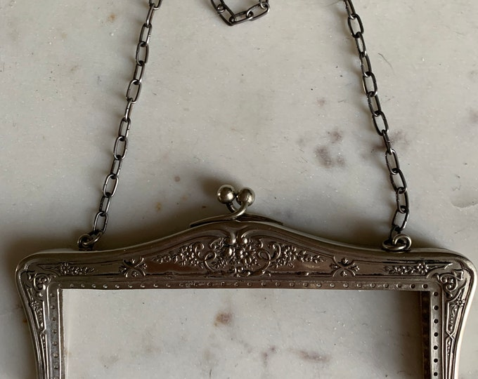 Antique silver. alpaca purse frame  marked alpaca and Germany