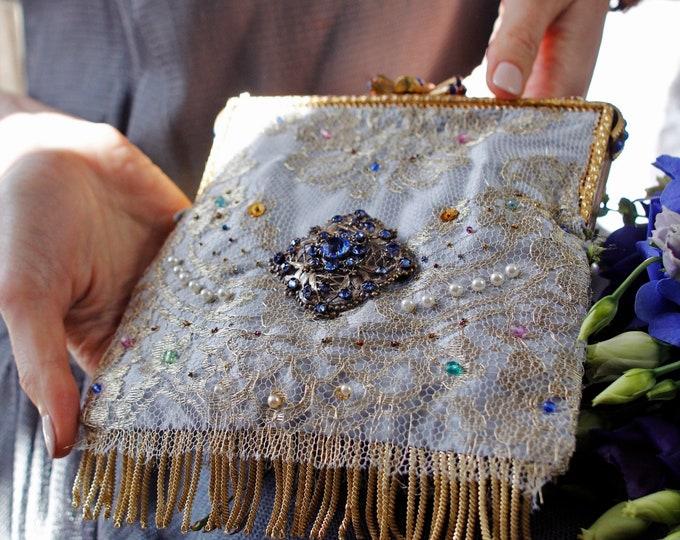 Vintage style gold lace bridal bag