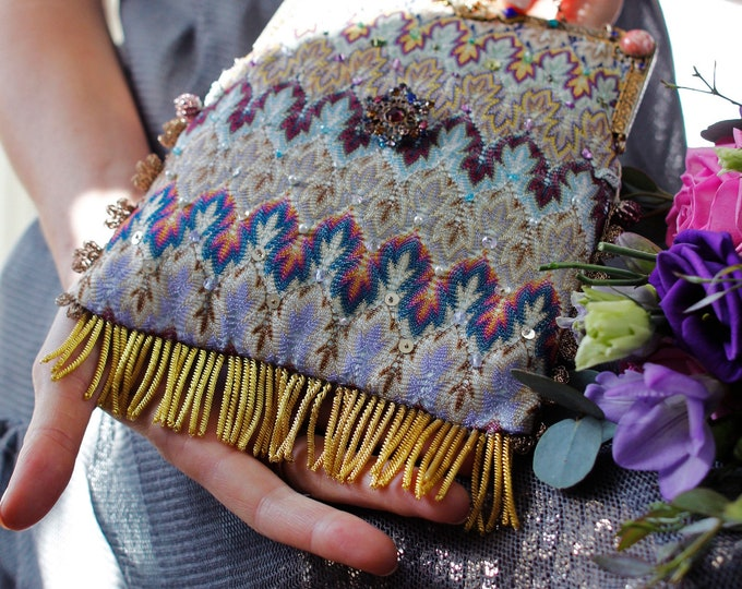 Antique jewelled handle woven silk bag.