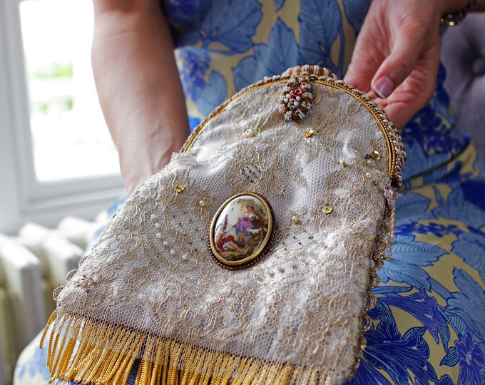 Antique micro beaded purse frame with enamel hand painted detail UpCycled and remade in french gold lace over grey silk
