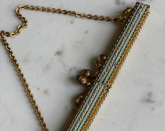 Antique enamel and beaded gilt purse frame