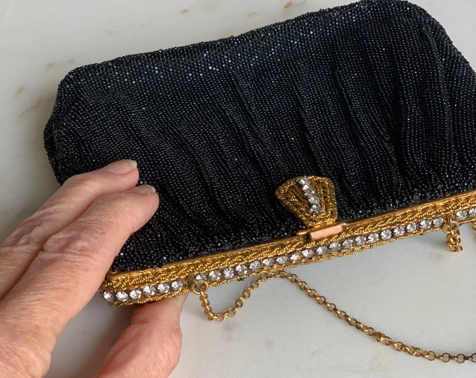 Vintage Black beaded clutch with Rhinestone clasp