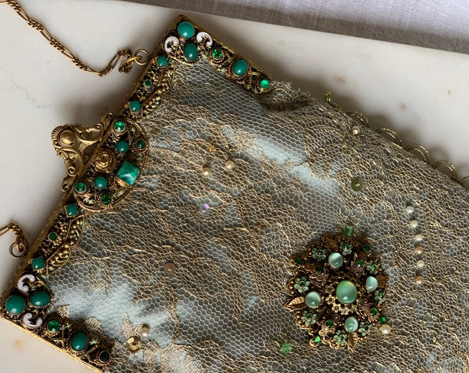 Antique jewelled gilt purse frame UpCycled and remade with gold hand beaded lace .