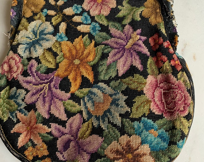 Vintage petit point tapestry purse no frame for repair only .