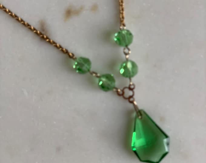 Vintage Art Deco green crystal necklace on rolled gold chain.