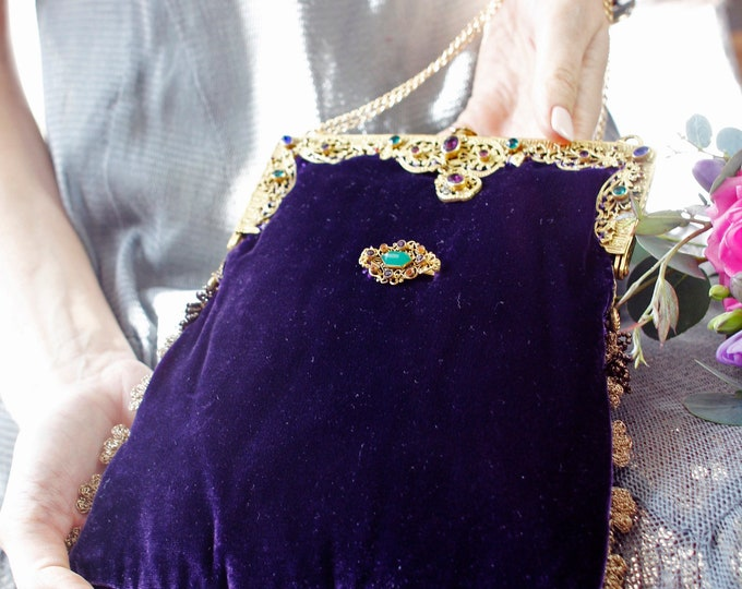 Silk Velvet Evening Bag with Antique Jewelled Handle