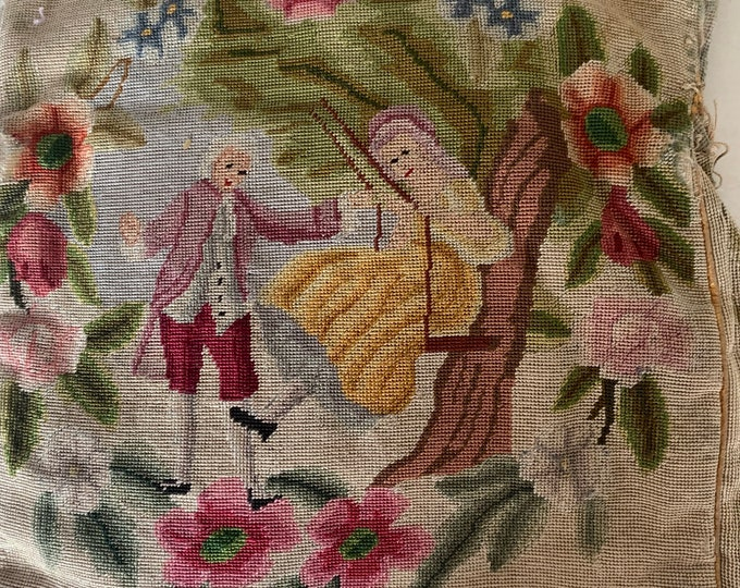 Antique petit point needlework purse no frame for repair .