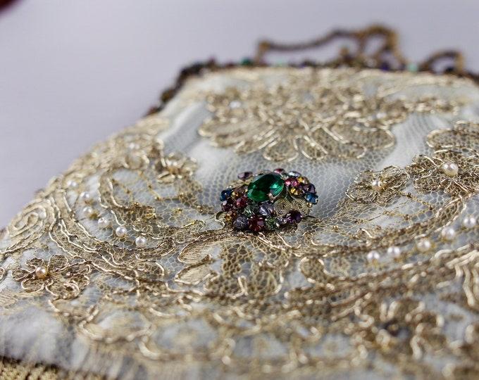 Antique gold and aqua silk evening bag