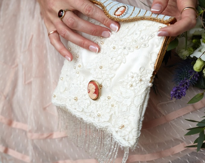 Vintage Style Bridal Bag With A 1940's Beaded Frame.