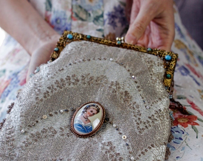 Antique 1920 s gilt frame with turquoise stones Up cycled purse made with genuine 1940 s gold silk lace and Antique Limoges porcelain brooch