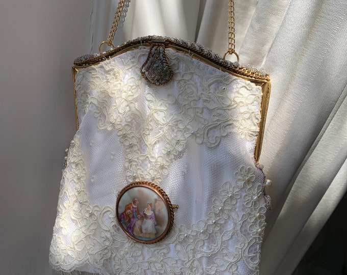 Antique 1940s French beaded purse frame UpCycled and remade in ivory corded lace .