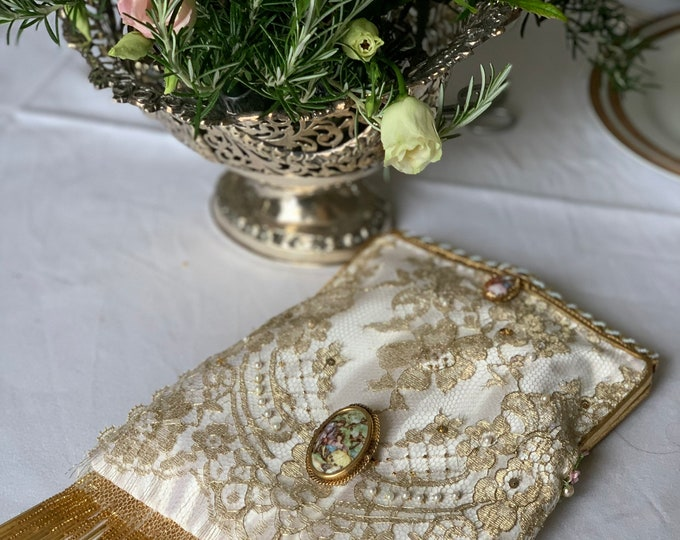 Antique 1940s beaded purse frame with Limoges porcelain medallion UpCycled and remade in hand beaded gold lace and hand painted Limoges .