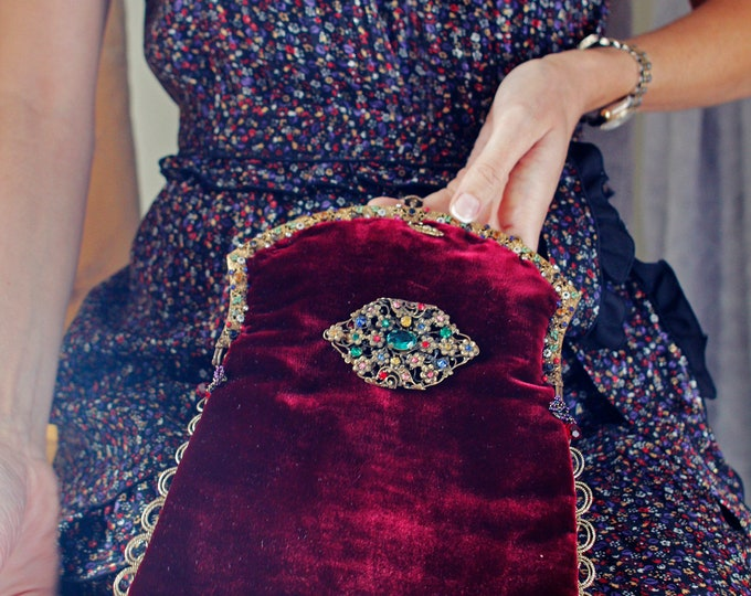 Magnificent Antique jewelled gilt purse frame UpCycled and remade in wine silk velvet .