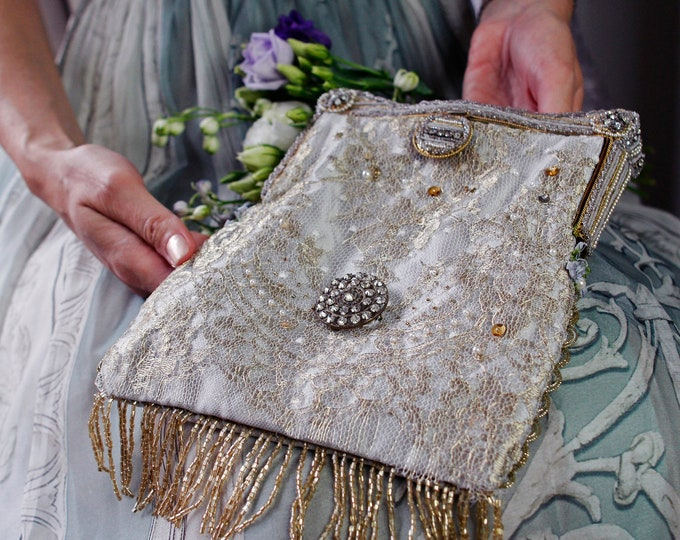 Antique beaded rhinestone and pearl purse frame 1940s remade in french gold lace .