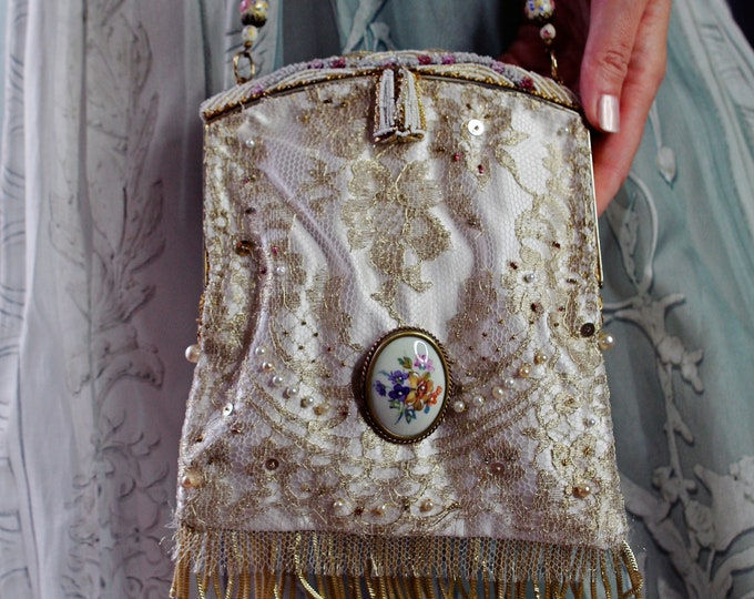 1940's Beaded Frame Up cycled and remade in french hand beaded gold lace  with vintage brooch.