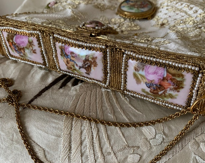 Magnificent Antique micro beaded purse frame with Limoges porcelain inserts remade in hand beaded gold lace