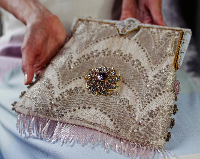 Antique 1930s beaded handle pale pink bag UpCycled in genuine antique gold lace and vintage Czech brooch