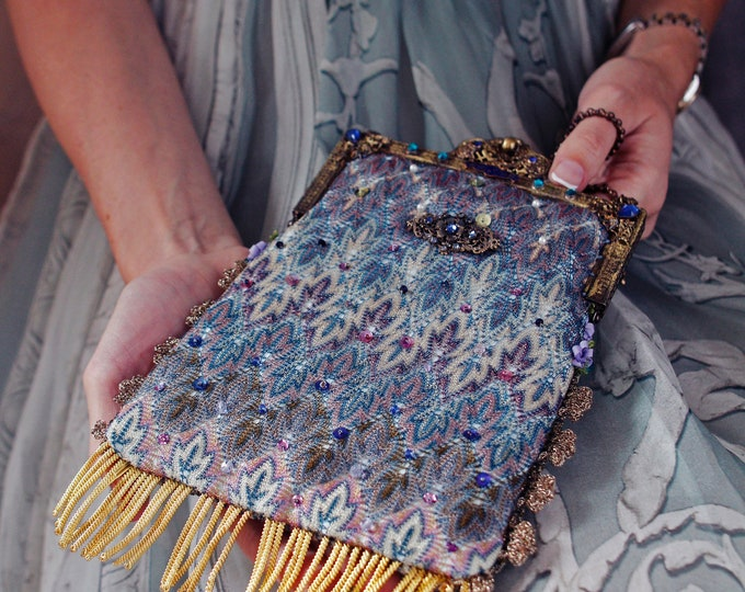 Antique gilt jewelled framed purse UpCycled and remade in salvaged vintage woven silk from an antique shawl.