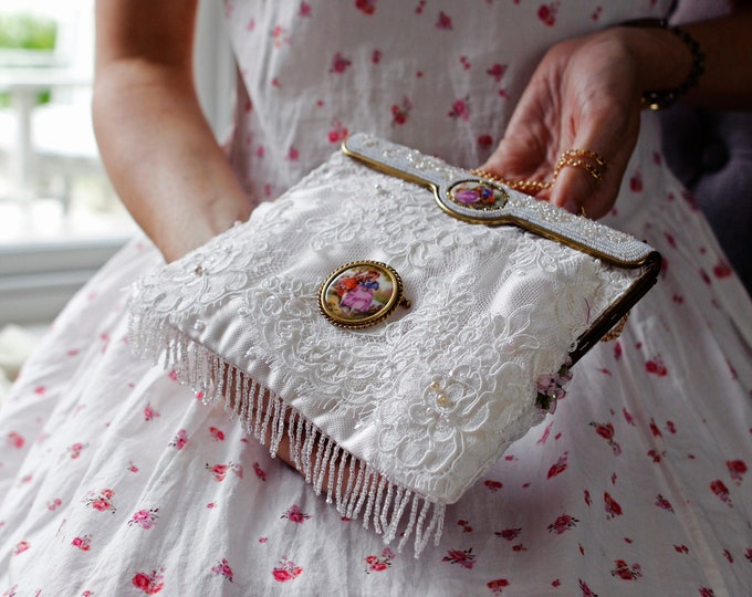 Antique 1940 s Limoges beaded purse frame UpCycled and remade in white french lace with original signed Limoges brooch .