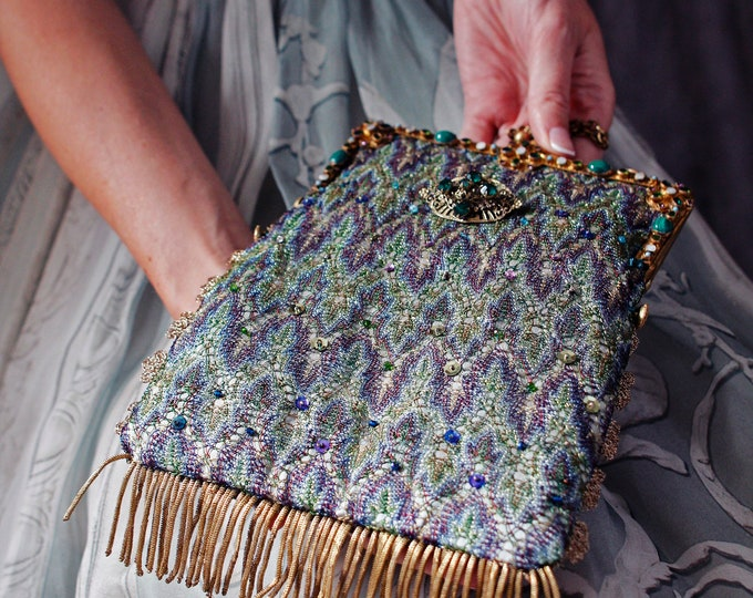 Antique 1920 s  jewelled frame  UpCycled and remade in vintage woven silk salvaged from a 1920 s silk shawl and vintage Czech brooch