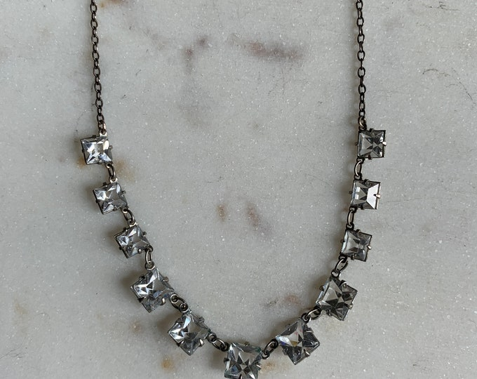 Vintage crystal open back necklace on silver plate chain