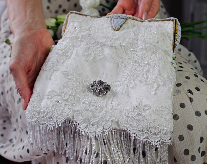 Antique beaded purse frame UpCycled and remade in french lace