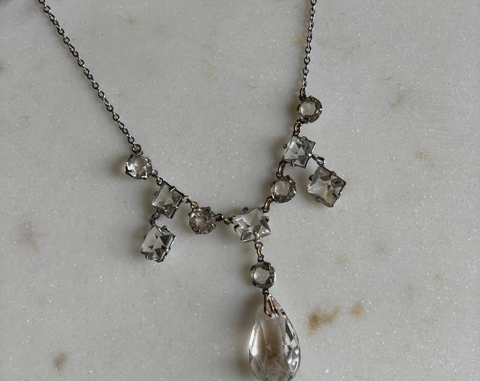 Antique  1940s crystal open back necklace on fine silver plate chain.