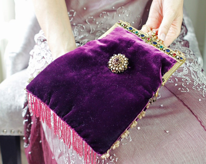 Antique 1940 s gilt jewelled framed purse UpCycled in-wine silk velvet with vintage Czech brooch .