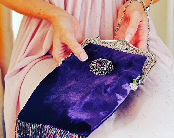 Antique silver 800 purse frame UpCycled and remade in purple silk velvet.