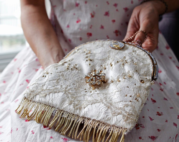 Antique 1940sgold and cream beaded purse frame UpCycled and remade with hand beaded gold lace and ivory silk.