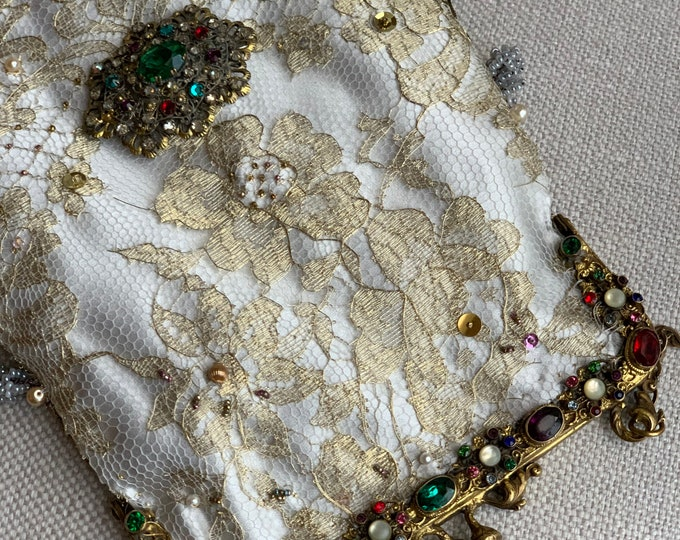 Antique jewelled gilt purse frame UpCycled and remade in gold lace