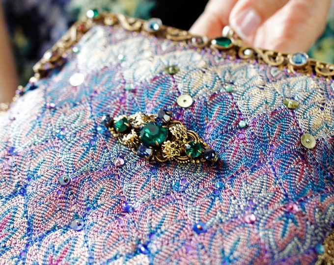 Beautiful jewelled gilt purse frame UpCycled and remade with antique woven silk salvaged from antique shawl from 1920 with vintage Czech  .