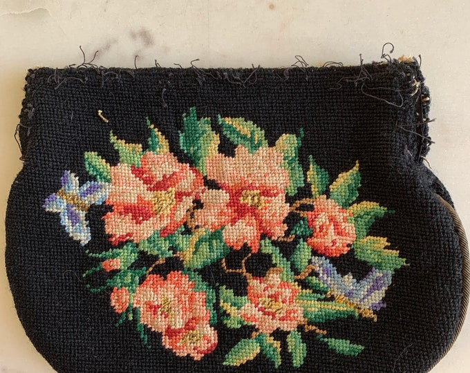 Vintage needlepoint purse no frame for repair only