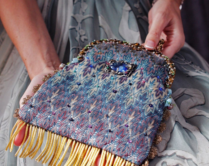 Antique jewelled purse frame UpCycled and remade in vintage Missoni style silk