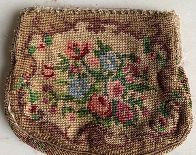 Antique needlepoint purse no frame for repair only
