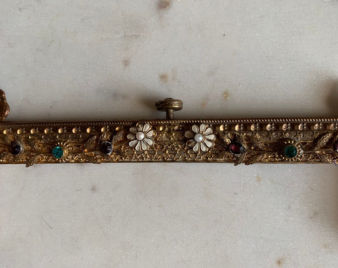 Antique gilt jewelled purse frame