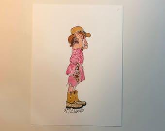 Baby Bull Meeting,  Watercolor Painting, 6x8, Kathleen McElwaine, KMcElwaine