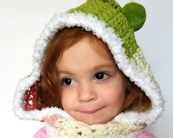 Toddler Crochet Hooded Cowl|Childs Pom Pom Hooded Cowl|Cowl Hat|Hooded Cowl|Childs Cowl|Cowl for Child|Crochet for Toddlers|Cowl Hooded