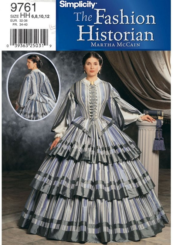 UNCUT Simplicity 7212 The Fashion Historian by Martha McCain Size 14-20 Victorian Dress and Accessories