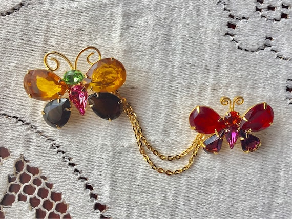 Joan Rivers, Glass Rhinestone Butterfly, Gold Tone