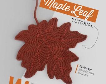 Tutoriel feuille d'érable au crochet, tutoriel feuille au crochet, feuille érable crochetée, tuto pdf crochet, téléchargement instantané