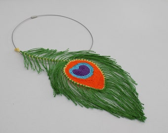 Tutoriel de fabrication Collier Plume de Paon crochetée, Plume de paon au crochet, bijoux plume de paon, tutoriel crochet, tuto crochet