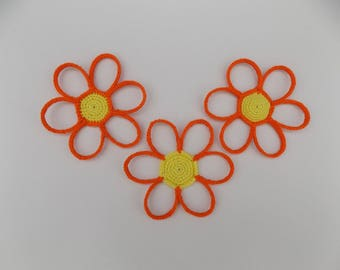 Dessous de verres Marguerites au crochet, sous verres marguerites, fleurs au crochet, fleur marguerite crochetée déco bijoux pendentif
