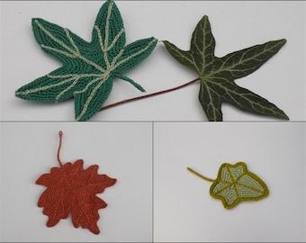 3 tutoriels feuilles au crochet, feuille crochetée, feuille de lierre crochet, feuille d'érable crochet, lierre crochetée, tuto crochet, lot