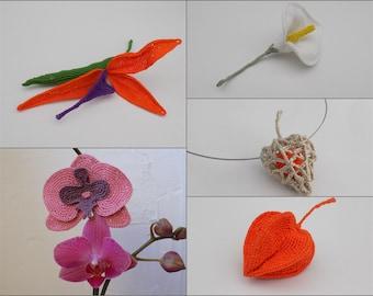 5 Tutoriels fleurs au crochet, strelitzia, orchidée, calla, arum, physalis, tutoriel crochet, tuto crochet, fleur crochet, fleur crochetée