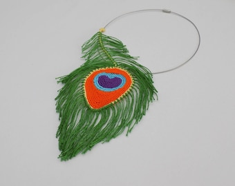 Collier Plume de Paon crochetée, Collier Plume de paon au crochet, bijoux plume de paon, bijoux crochet, bijoux crochetés, collier crochet