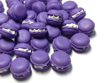 Miniature Food - Macaron Purple Color- 10pcs - 17mm Dessert Supply Dollshouse Miniature -AM196